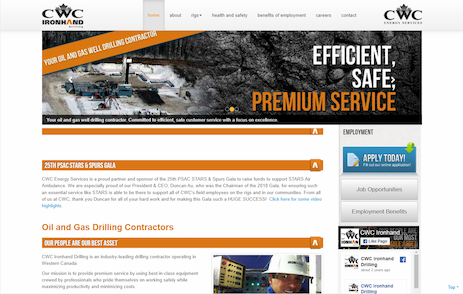 Industrial NetMedia developed this landing page for a local energy drilling contractor
