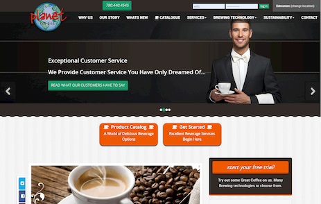 An image of a guy grinding fresh coffee from the Home Page of the Planet Coffee website