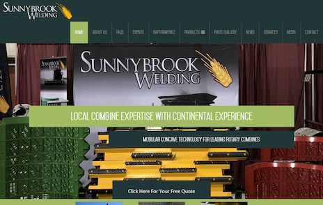 Industrial NetMedia of Leduc used this eye-catching image of a combine for the homepage of Sunnybrook Welding
